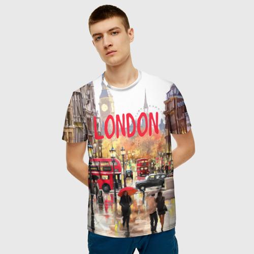 Мужская 3D футболка с принтом Улицы Лондона, фото на моделе #1
