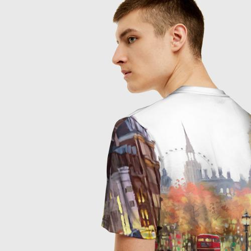 Мужская 3D футболка с принтом Улицы Лондона, вид сзади #2
