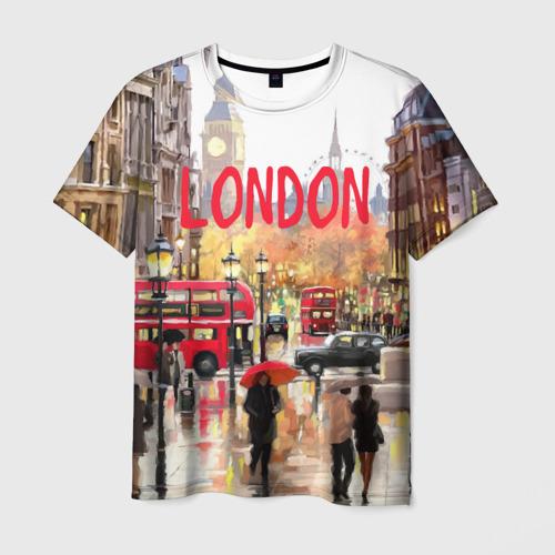 Мужская 3D футболка с принтом Улицы Лондона, вид спереди #2