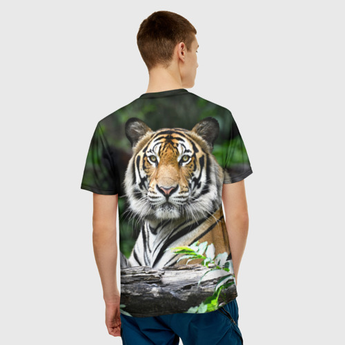 Мужская 3D футболка с принтом Тигр в джунглях, вид сзади #2