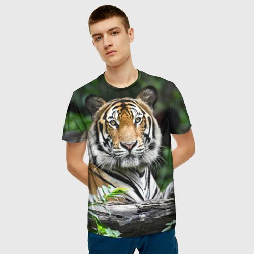 Мужская 3D футболка с принтом Тигр в джунглях, фото на моделе #1
