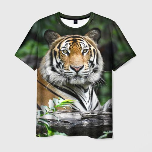 Мужская 3D футболка с принтом Тигр в джунглях, вид спереди #2