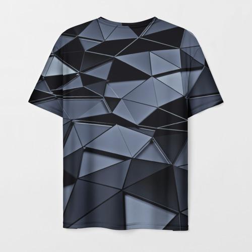 Мужская 3D футболка с принтом Abstract Gray, вид сзади #1