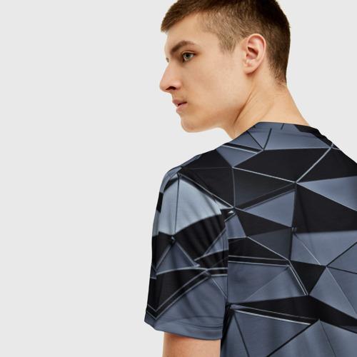 Мужская 3D футболка с принтом Abstract Gray, вид сзади #2