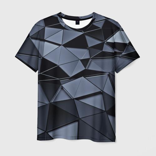 Мужская 3D футболка с принтом Abstract Gray, вид спереди #2