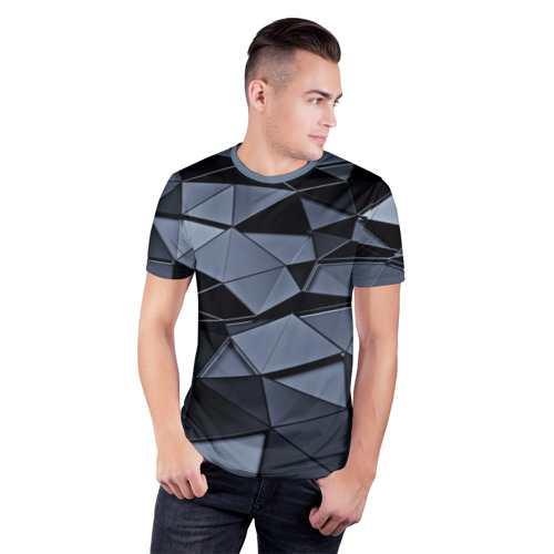 Мужская футболка 3D спортивная с принтом Abstract Gray, фото на моделе #1