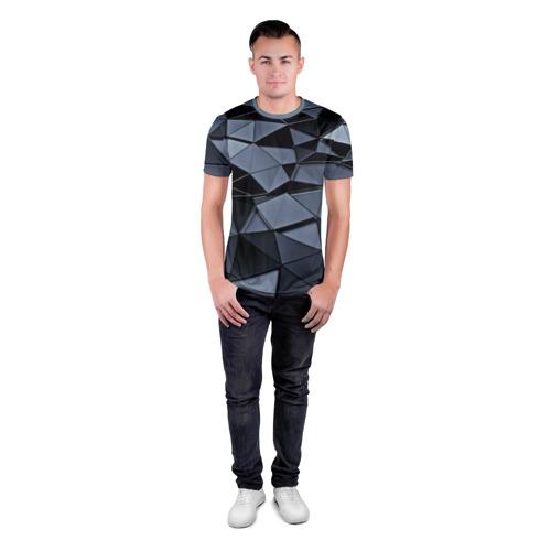 Мужская футболка 3D спортивная с принтом Abstract Gray, вид сбоку #3