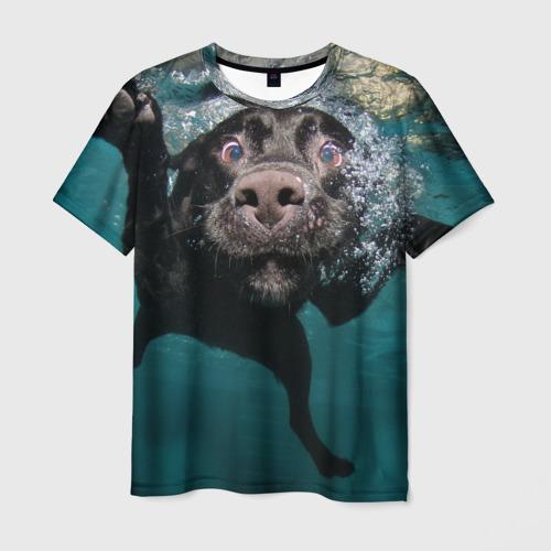 Мужская 3D футболка Пес дайвер