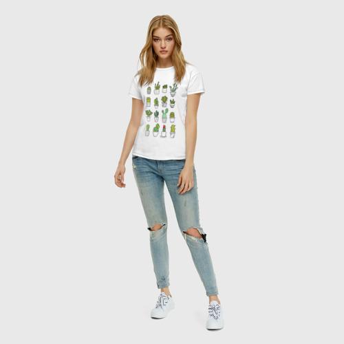 Женская футболка с принтом Cactus, вид сбоку #3