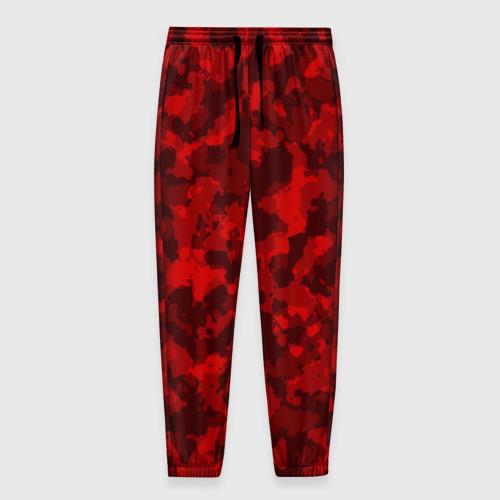 Мужские брюки 3D с принтом Красный камуфляж, вид спереди #2