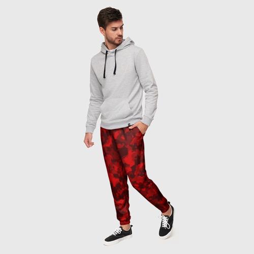 Мужские брюки 3D с принтом Красный камуфляж, фото на моделе #1