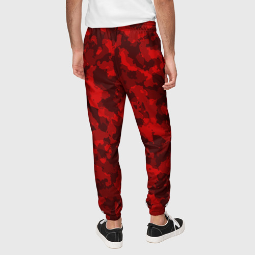 Мужские брюки 3D с принтом Красный камуфляж, вид сзади #2