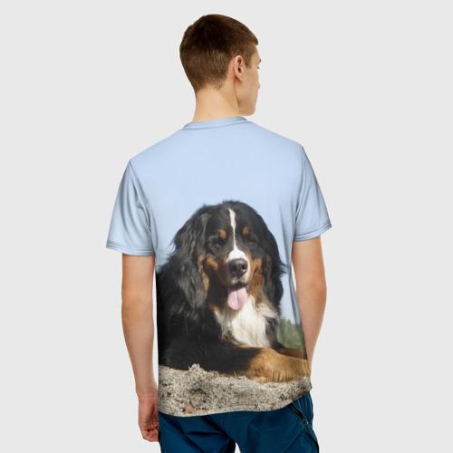 Мужская 3D футболка с принтом Бернский зенненхунд, вид сзади #2