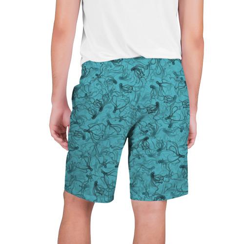Мужские шорты 3D с принтом Осьминоги, вид сзади #1