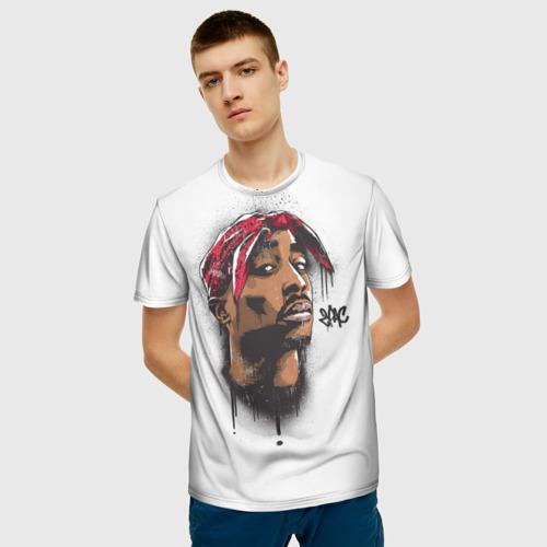 Мужская 3D футболка с принтом 2Pac, фото на моделе #1