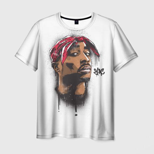 Мужская 3D футболка с принтом 2Pac, вид спереди #2