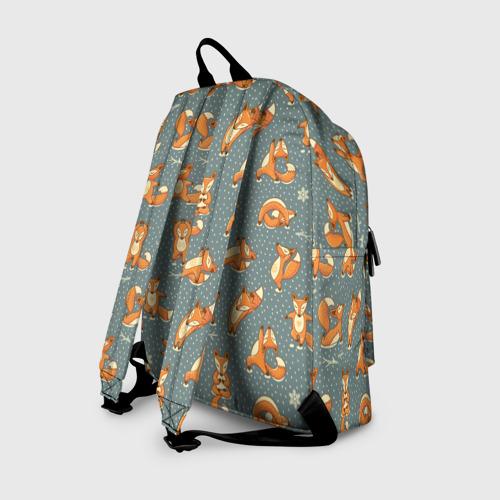 Рюкзак 3D с принтом Foxes yoga, вид сзади #1