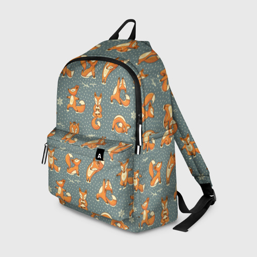 Рюкзак 3D с принтом Foxes yoga, вид спереди #2