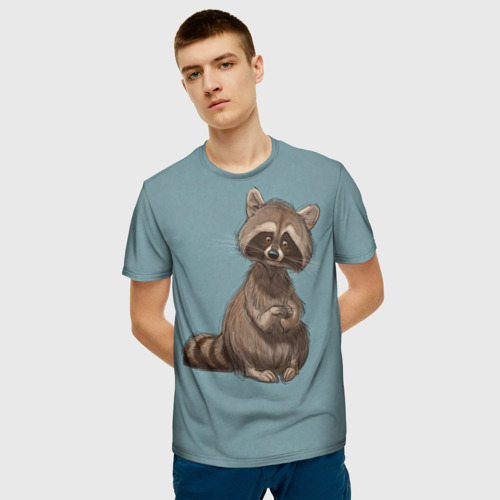 Мужская 3D футболка с принтом Raccoon, фото на моделе #1