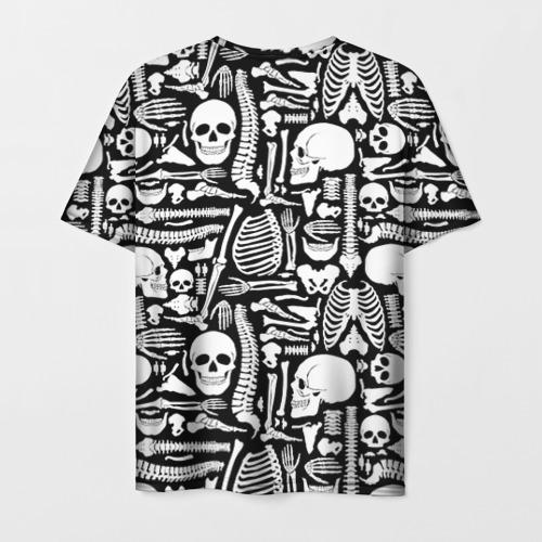 Мужская 3D футболка с принтом Кости, вид сзади #1