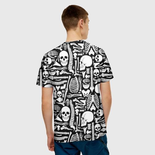 Мужская 3D футболка с принтом Кости, вид сзади #2