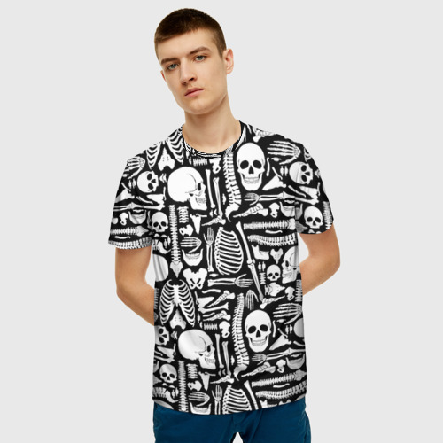 Мужская 3D футболка с принтом Кости, фото на моделе #1