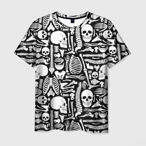 Мужская 3D футболка с принтом Кости, вид спереди #2