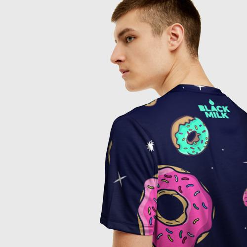 Мужская 3D футболка с принтом Black Milk Космические Пончики, вид сзади #2