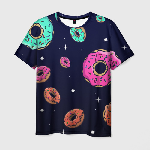 Мужская 3D футболка с принтом Black Milk Космические Пончики, вид спереди #2