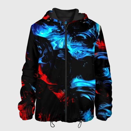 Мужская куртка 3D с принтом Жидкие краски, вид спереди #2