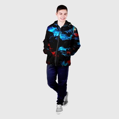Мужская куртка 3D с принтом Жидкие краски, фото на моделе #1
