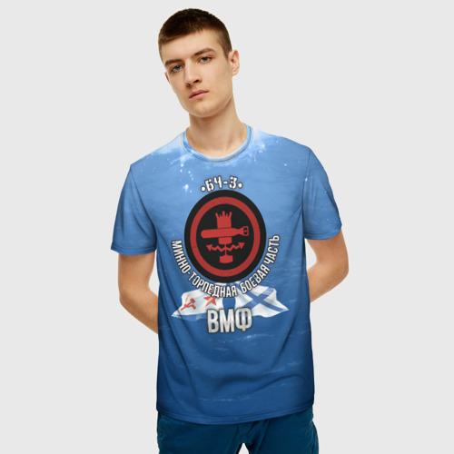 Мужская 3D футболка с принтом БЧ-3 Минно-торпедная, фото на моделе #1