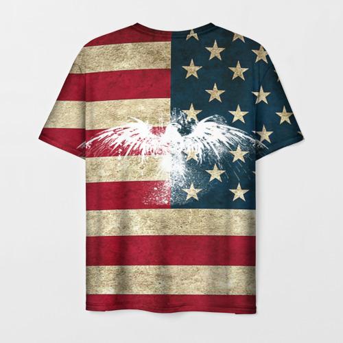 Мужская 3D футболка с принтом Флаг США с белым орлом, вид сзади #1