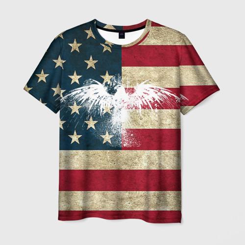 Мужская 3D футболка с принтом Флаг США с белым орлом, вид спереди #2