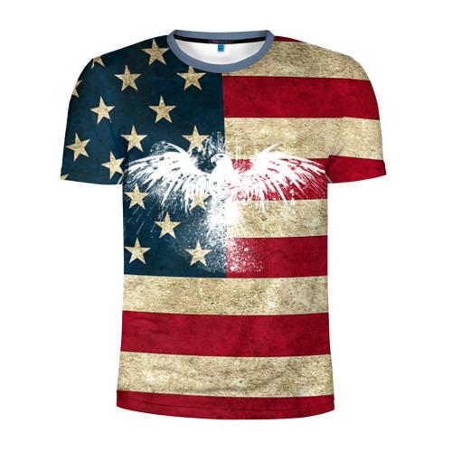 Мужская футболка 3D спортивная Флаг США с белым орлом