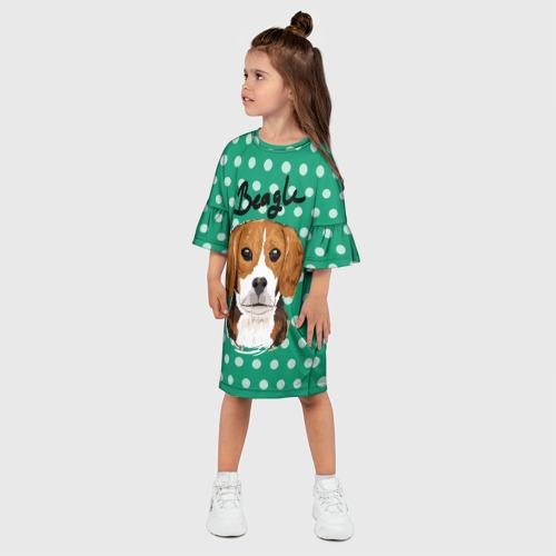 Детское платье 3D с принтом Бигль, фото на моделе #1