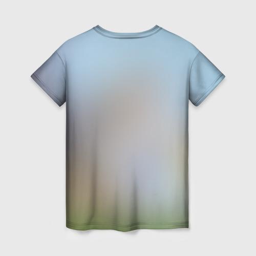 Женская 3D футболка с принтом Кот на Единороге, вид сзади #1