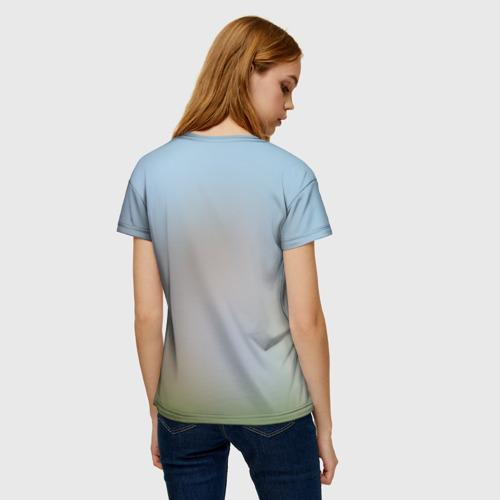 Женская 3D футболка с принтом Кот на Единороге, вид сзади #2