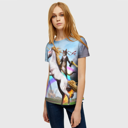 Женская 3D футболка с принтом Кот на Единороге, фото на моделе #1