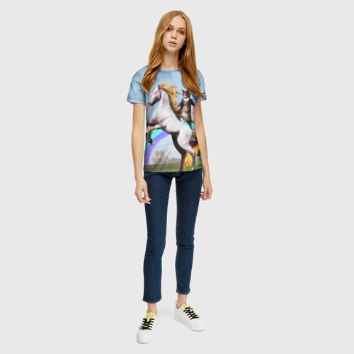 Женская 3D футболка с принтом Кот на Единороге, вид сбоку #3