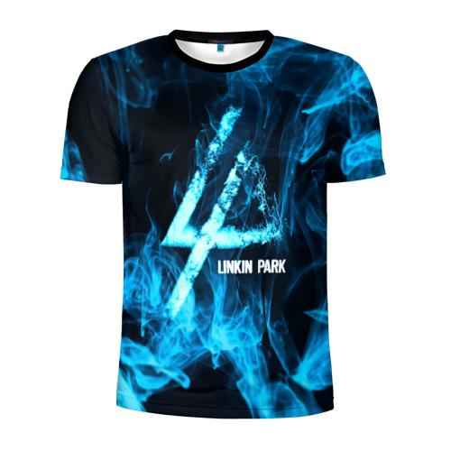 Мужская футболка 3D спортивная Linkin Park синий дым