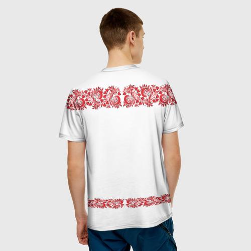 Мужская 3D футболка с принтом Вышиванка, вид сзади #2