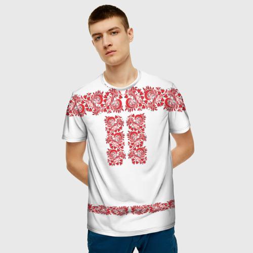 Мужская 3D футболка с принтом Вышиванка, фото на моделе #1