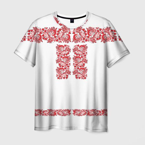 Мужская 3D футболка с принтом Вышиванка, вид спереди #2