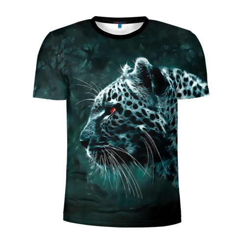 Мужская футболка 3D спортивная Леопард