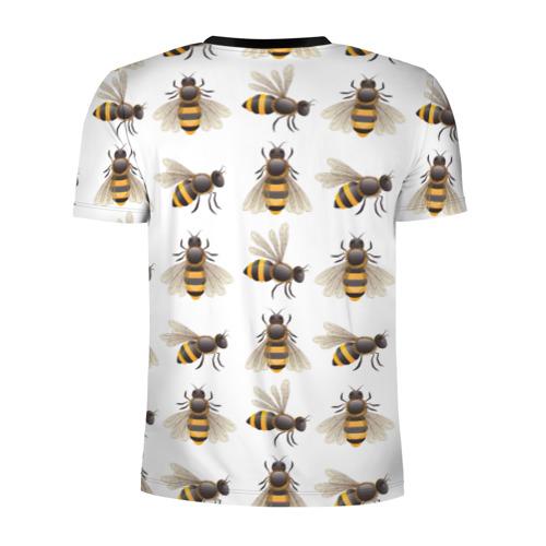 Мужская футболка 3D спортивная с принтом Пчелы, вид сзади #1