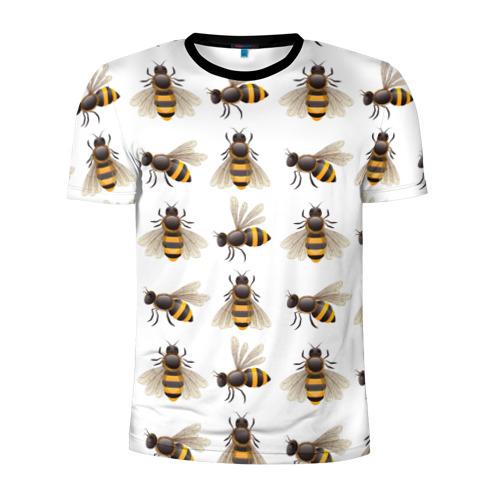 Мужская футболка 3D спортивная с принтом Пчелы, вид спереди #2
