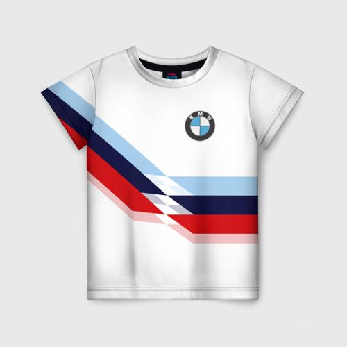 Детская 3D футболка с принтом BMW   БМВ WHITE, вид спереди #2