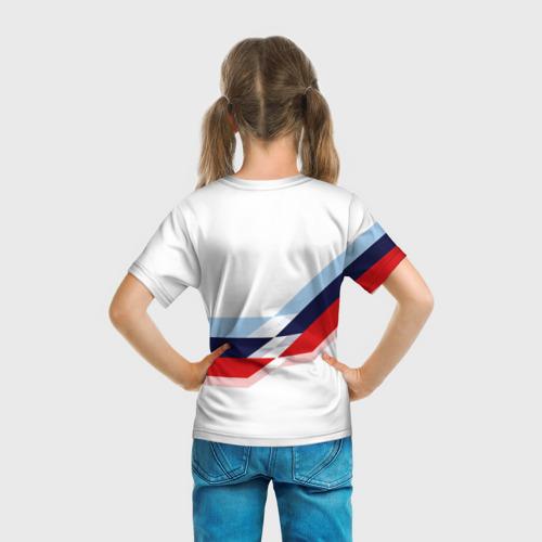 Детская 3D футболка с принтом BMW   БМВ WHITE, вид сзади #2
