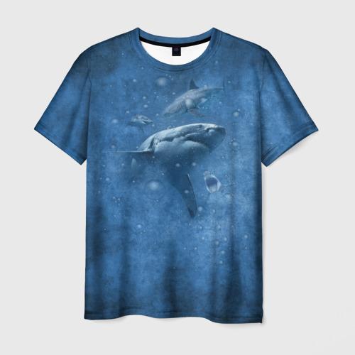 Мужская 3D футболка с принтом Shark, вид спереди #2